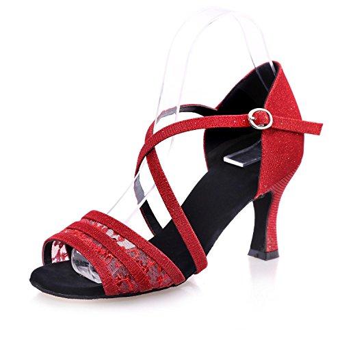 Anpassbare Ferse Frauen Rot yc Ausgestellte Schwarz Tanzschuhe Latin Braun Red Gold L Kunstleder