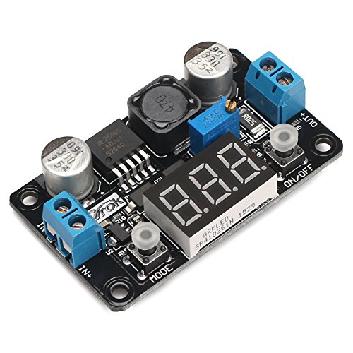 (DROK 180057 LM2596 Analog Control Buck Converter DC-DC 4-32V to 1.25-30V Step-down Regulator Module 24V 12V to 5V 3A Power Inverter Volt Stabilizer with Red LED Display)