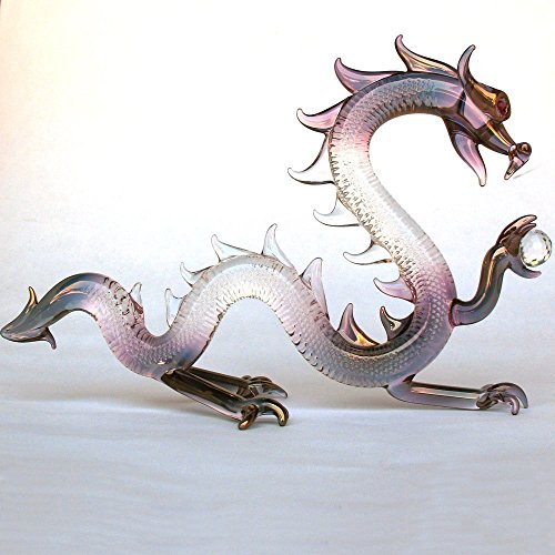 Dragon Figurine of Hand Blown Glass Serpent with Crystal Ball by Prochaska Gallery