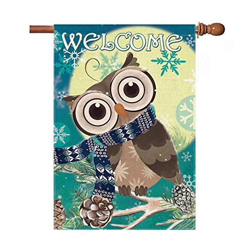 Hexagram Owl and Moon House Flag,Christmas Snowflake Winter Flags 28 x 40 Double Sided, Holiday Outdoor Burlap Turning Head Owl Welcome Quote Seasonal Garden Decoration