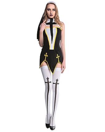 Couples Halloween Costume Womenu0027S Bad Habit Nun Costume Menu0027S Religious Priest ...  sc 1 st  Amazon UK & Couples Halloween Costume Womenu0027S Bad Habit Nun Costume Menu0027S ...