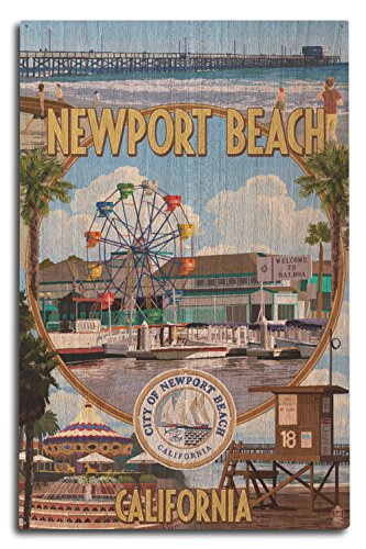Lantern Press Newport Beach, California - Newport Beach Montage (10x15 Wood Wall Sign, Wall Decor Ready to Hang)