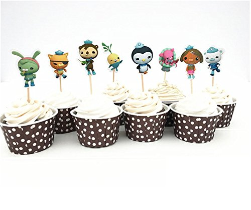 Astra Gourmet Octonauts Cartoon Cupcake Topper Picks Party Decoration for Kid's Birthday Party Decoration Supplies, Set of 24