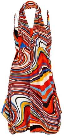 NY Deal Women's Two Pieces Halter Dress, Orange, Medium