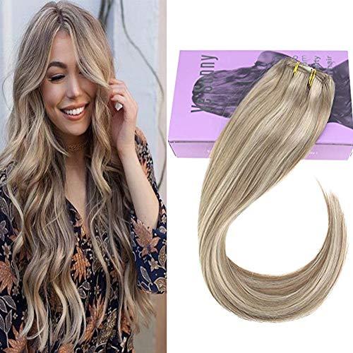 VeSunny Dark Ash Blonde Clip in Hair Extensions Remy Human Hair Highlight Medium Blonde Human Hair Extensions Clip ins With Salon Style 20inch 7pcs/120g