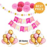 Arts & Crafts : Birthday Decorations for Women and Girls - Pink Gold Happy Birthday Banner Birthday Kit Party Supplies