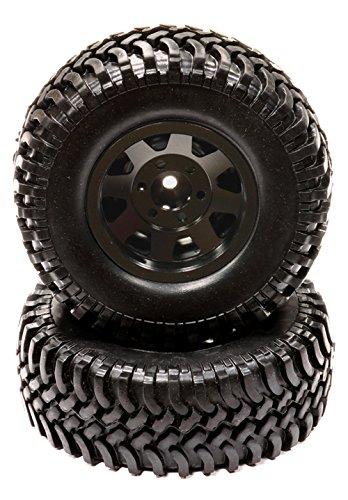Integy RC Model Hop-ups C24355BLACK Billet Machined 8 Spoke 1.9 Size Wheel & T7 Tire (2) for Scale Crawler ()