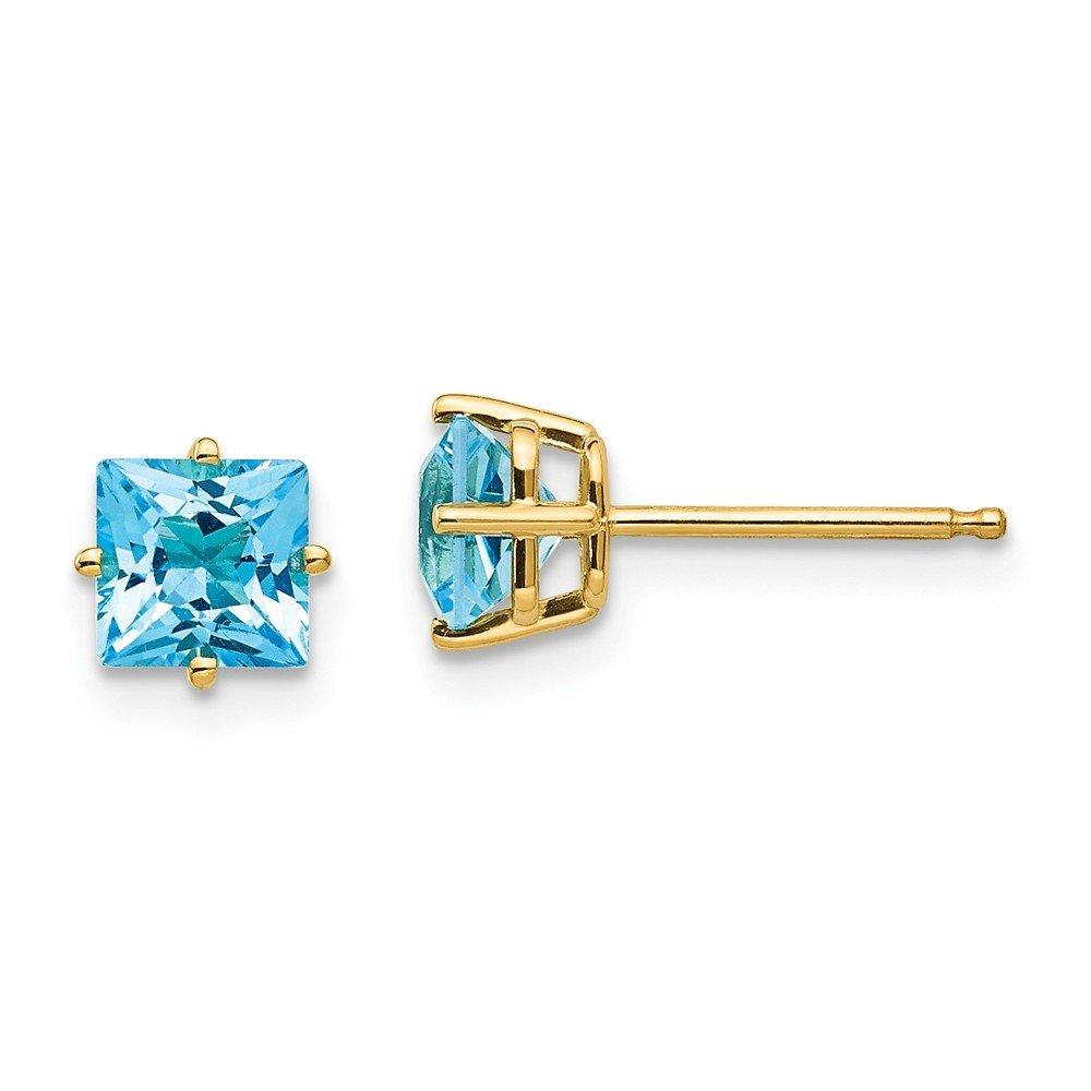 Real 14kt Yellow Gold 5mm Princess Cut Blue Topaz Earrings