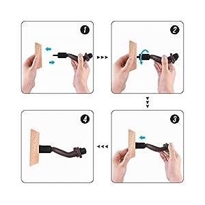ammoon Supporto a Muro per Chitarra Gancio Supporto a Parete per Chitarra in Legno per Chitarra Basso Ukulele Strument a Corde GH-01