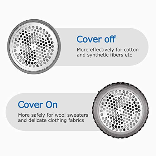 BEAUTURAL Fabric Shaver and Lint Remover, Sweater Defuzzer with 2-Speeds, 2 Replaceable Stainless Steel Blades, Battery Operated (Grey)