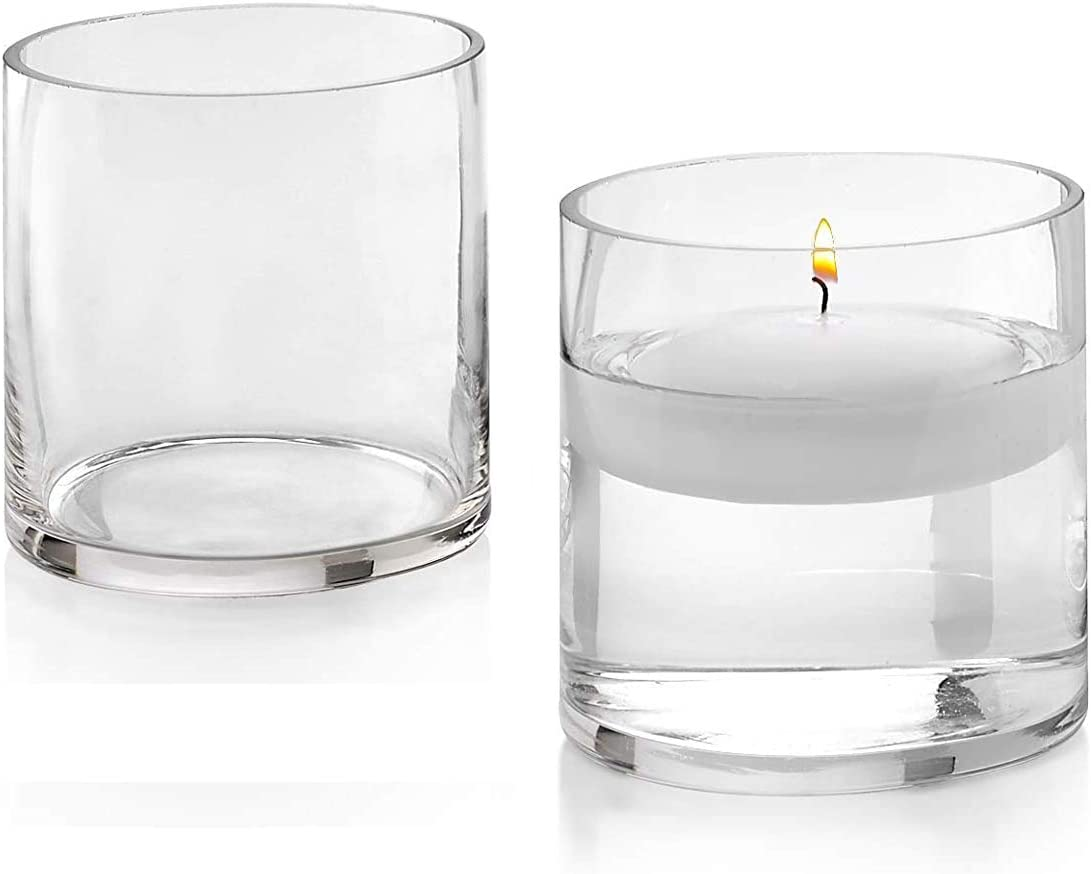 Set of 2 Glass Cylinder Vases 5 Inch Tall X 5 Inch Round - Multi-use: Pillar Candle, Floating Candles Holders or Flower Vase – Perfect as a Wedding Centerpieces.