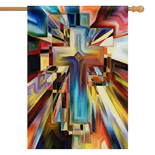 (INTERESTPRINT Abstract Angles of The Cross Series in Tie Dye Pattern House Flag Decorative for Garden and Home Decorations, House Banner 28 x 40 Inches (Without Flagpole))