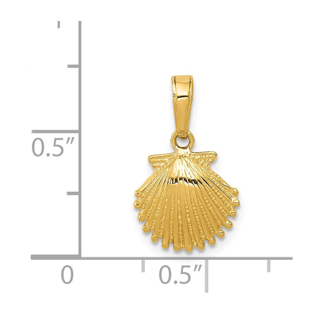 FB Jewels Solid 14K Yellow Gold Scallop Shell Pendant