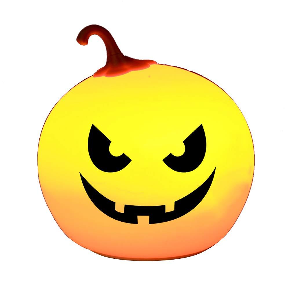 wintefei Halloween Pumpkin LED Night Light Silicone Touch Sensor Baby Kids Bedside Lamp 4#