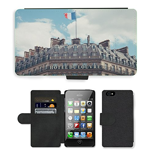 PU Leather Cover Custodia per // M00421569 Édifice Hôtel Classique architecture // Apple iPhone 4 4S 4G
