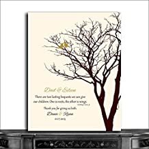 9.5x12 Metal Art Print Personalized Gift For Mom And Dad Parents Brown And Cream With Gold Birds 10th Anniversary Gift Custom Wedding Art