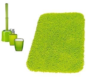 Ridder 229900050-350 - Accesorios para baño (alfombra, vaso, dispensador de jabón y escobillero), color verde neón