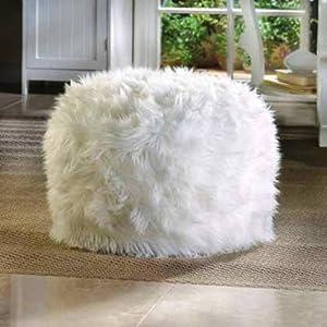 WHITE Fuzzy Furry Footstool Floor Pillow cushion Seat Fabric Bean Bag Ottoman POUF
