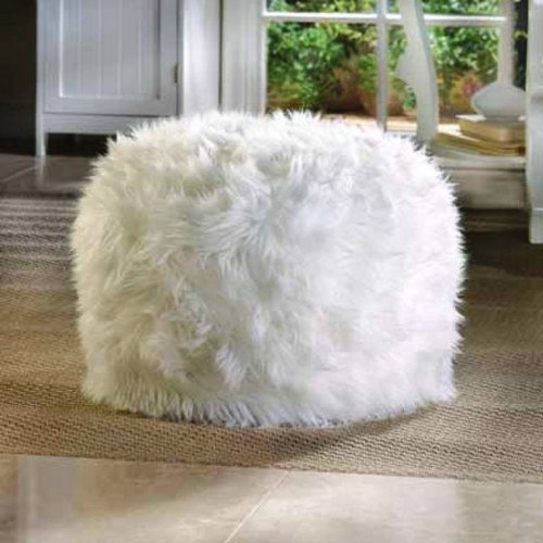 Bag Footstool Bean (WHITE Fuzzy Furry Footstool Floor Pillow cushion Seat Fabric Bean Bag Ottoman POUF)