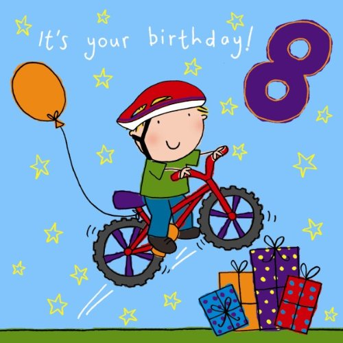 Twizler 8th Birthday Card For Boy With Bike Presents And Swarovski Crystal Finish