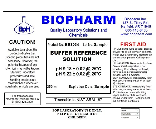 Biopharm Buffer Calibration Kit (3) 250 ml (8oz) Bottles pH 4.00, pH 6.86 and pH 9.18 NIST Traceable Reference Standards for All pH Meters by Biopharm (Image #4)