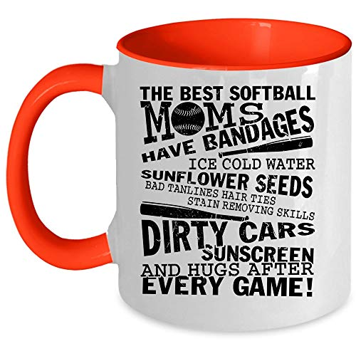 (Ice Cold Water And Hugs After Every Game Coffee Mug, The Best Softball Moms Have Bandages Accent Mug, Unique Gift Idea for Women (Accent Mug -)