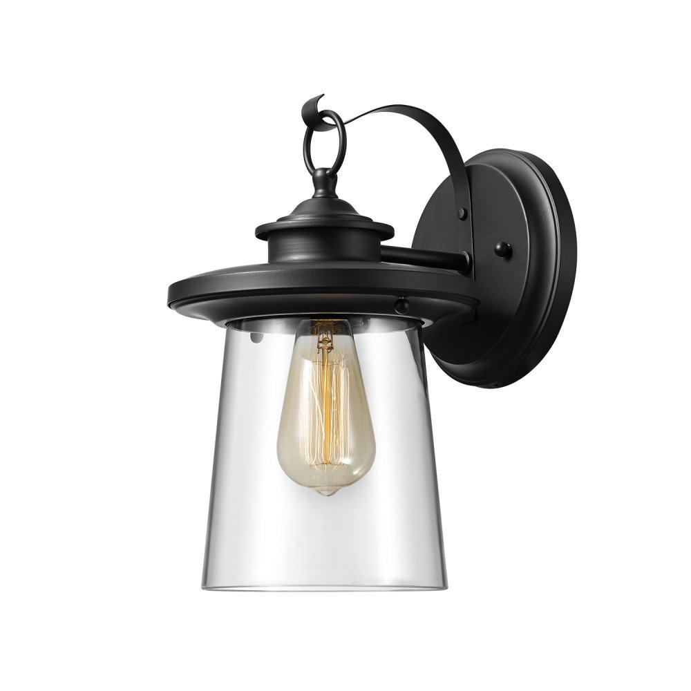 Globe Electric 44170 Valmont 13'' 1-Light Outdoor Wall Sconce with Black Finish and Clear Glass Shade, Black with Clear Glass