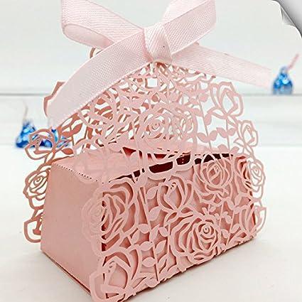 50 pcs boda regalos corte láser DIY Candy para galletas cajas de regalo con cinta romántica