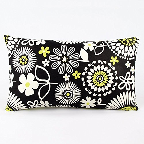 """Bumble Bee Madness Floral Decorative Handmade Lumbar Pillow Cover, 12x20"""", Reversible, Black & Green, Chloe & Olive"""