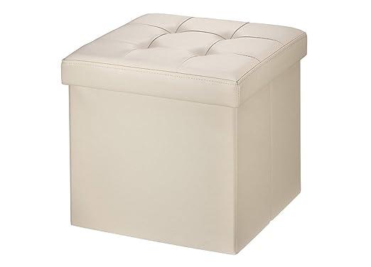 Baúl Puff Taburete para almacenaje 38 x 38 x 38 cm Plegable Carga máxima de 300 kg Caja de almacenaje para almacenaje (plegable, 38 x 38 x 38 cm) ...