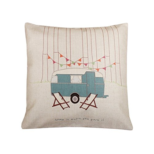 Acelive 18x18 Inch Cotton Linen Vintage Home Where You Park Cotton Linen Square Throw Pillow Case Decorative Durable Cushion Slipcover Home Decor Standard Size Accent Pillowcase Encasement