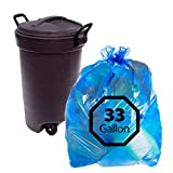 Blue Recycling Bags 33Gallon By Primode – 100 Count Heavy Duty Trash Bags For Indoor Or Outdoor Use 33x39 MADE IN THE USA