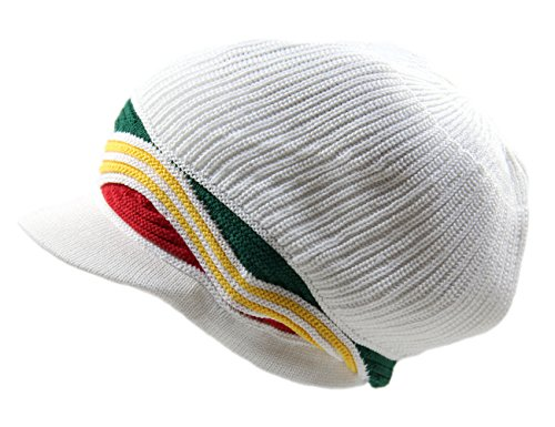 NYE 100% Cotton Rasta Dreadlock Wave Beanie Visor XL (White/Rasta)