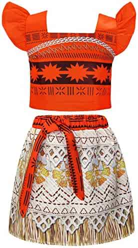 AmzBarley Moana Costume Little Girls Halloween Party Dress up Toddler Kids Skirt Sets