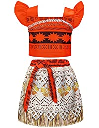 f00c46aacb Moana Costume for Girls Dress up Toddler Baby Cosplay Outfit Little Kids  Skirt Sets