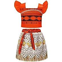 AmzBarley Moana Costume for Toddler Kids Party Princess Skirt Sets Little Girls Dress up