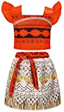 AmzBarley Princess Moana Costume for Halloween Skirt Set Toddler Kids Clothes Little Girls Cosplay Party Dress up (3T (2-3Years),Sleeveless)
