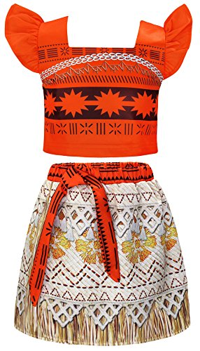 Cotrio Moana Costume Girl Adventure Dress Up Outfit Kids Two-Piece Skirt Set Princess Themed Party Fancy Dresses Halloween Cosplay Size 3T (2-3 Years, Orange, 100)]()