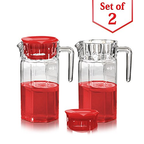 Glass Fridge Pitchers with Red Lids - Set of 2 Water Jug with Easy Pour Spout and Handle - For Water, Iced Tea, Juice, Lemonade (50 Oz.)