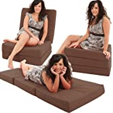 ADULT CHAIRBED - BROWN Large Cube Chair Bed Pouffe fold out guest Z bed