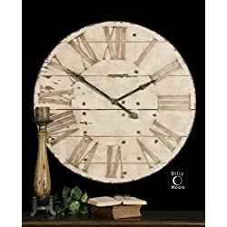 """Farmhouse Distressed Antiqued Ivory Wall Clock Large 36"""""""