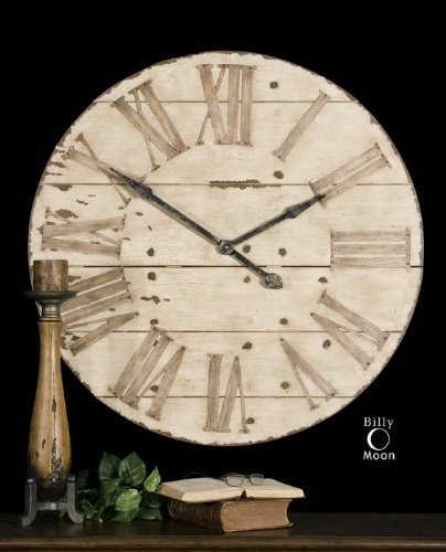 Distressed Wood Antiqued Ivory Wall Clock Large Rustic Finish