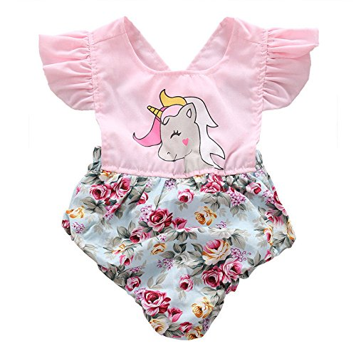 Toddler Newborn Baby Girls Ruffle Sleeve Floral Unicorn Romper Bodysuit Jumpsuit Outfits Clothes
