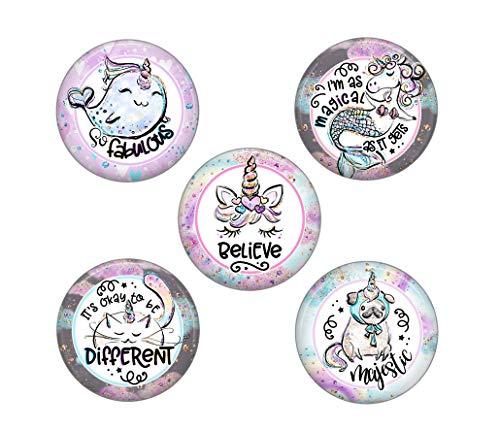 (Cute Locker Magnets For Teens - 5 Magical Unicorn Magnets - Fun School Supplies - Whiteboard Office or Fridge - Funny Magnet Gift Set (Unicorns))