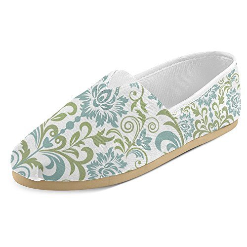 InterestPrint Women's Loafers Classic Casual Canvas Slip On Fashion Shoes Sneakers Flats Size 7 Floral Damask Featuring Scrolled Motifs Antique Victorian Style (Scrolled Flat)