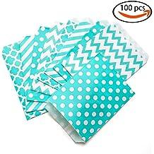 KIYOOMY 100 Pcs Candy Buffet Bags Small Paper Treat Bags (Teal Blue, 5'' X 7'')