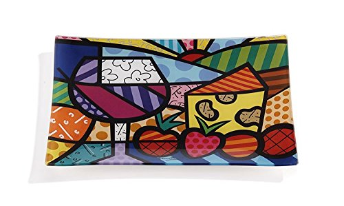 Romero Britto Rectangular Glass Plate Serving Tray Wine and Cheese Design