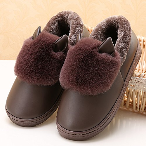 LaxBa Femmes Hommes chauds dhiver Chaussons peluche antiglisse intérieur Cotton-Padded Slipper Chaussures brown38/39 (recommandé 37/38 lusure)