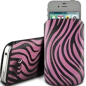 Online-Gadgets UK - Samsung Galaxy S4 i9500 premium Zebra Diseño caja de la PU ficha de extracción Caso del tirón del cuero - Rosa