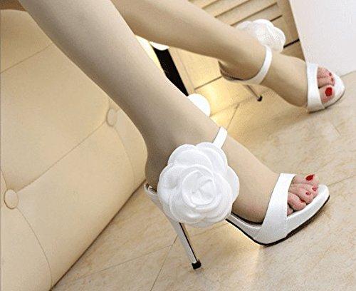 Awxjx Sommer High Damen Flip Flops Blumen High Sommer Heel Feine mit Wasserdicht Weiß c308a6